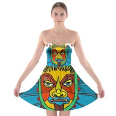 Abstract Mask Figure Traditional Strapless Bra Top Dress