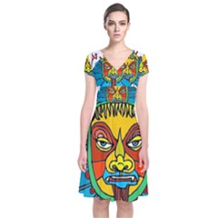 Abstract Mask Figure Traditional Short Sleeve Front Wrap Dress