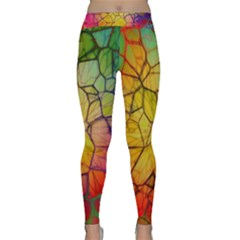 Abstract Squares Triangle Polygon Yoga Leggings