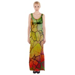 Abstract Squares Triangle Polygon Maxi Thigh Split Dress