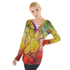 Abstract Squares Triangle Polygon Women s Tie Up Tee