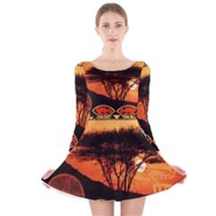 Africa Safari Summer Sun Nature Long Sleeve Velvet Skater Dress