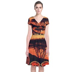Africa Safari Summer Sun Nature Short Sleeve Front Wrap Dress