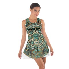 Aztec Calendar Round Disc Historic Cotton Racerback Dress