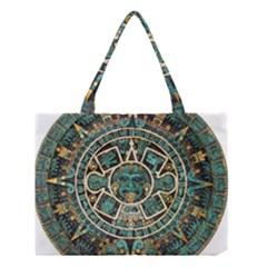 Aztec Calendar Round Disc Historic Medium Tote Bag
