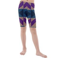 Aztec Fabric Textile Design Navy Kids  Mid Length Swim Shorts