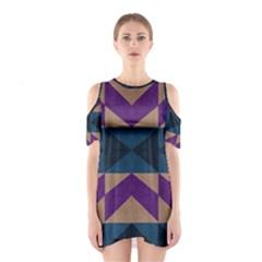 Aztec Fabric Textile Design Navy Cutout Shoulder Dress