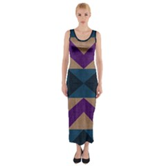 Aztec Fabric Textile Design Navy Fitted Maxi Dress