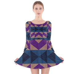 Aztec Fabric Textile Design Navy Long Sleeve Velvet Skater Dress
