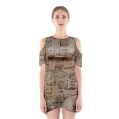 Background Grunge Old Houses Town Cutout Shoulder Dress