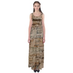 Background Grunge Old Houses Town Empire Waist Maxi Dress