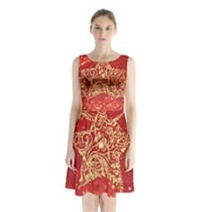 Background Star Sleeveless Chiffon Waist Tie Dress