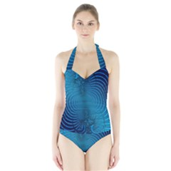 Background Brush Particles Wave  Halter Swimsuit