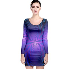 Background Brush Particles Wave 3 Long Sleeve Bodycon Dress