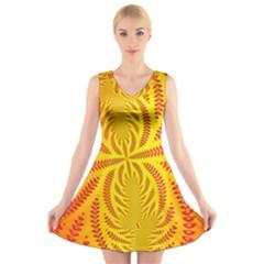 Background Brush Particles Wave V-Neck Sleeveless Skater Dress