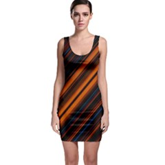 Background Pattern Lines Sleeveless Bodycon Dress