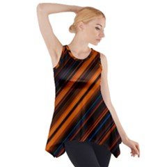 Background Pattern Lines Side Drop Tank Tunic