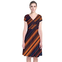 Background Pattern Lines Short Sleeve Front Wrap Dress