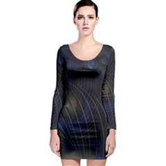 Background Fractal Peacock Pipe Long Sleeve Bodycon Dress