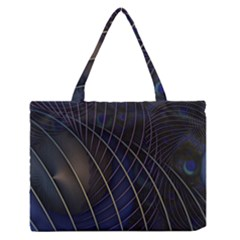 Background Fractal Peacock Pipe Medium Zipper Tote Bag