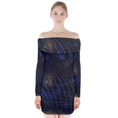 Background Fractal Peacock Pipe Long Sleeve Off Shoulder Dress
