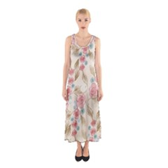 Background Page Template Floral  Sleeveless Maxi Dress