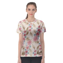 Background Page Template Floral  Women s Sport Mesh Tee