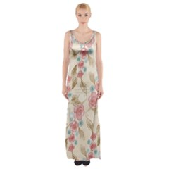Background Page Template Floral  Maxi Thigh Split Dress