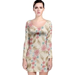 Background Page Template Floral  Long Sleeve Velvet Bodycon Dress