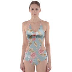 Background Page Template Floral 2 Cut-Out One Piece Swimsuit