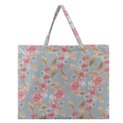 Background Page Template Floral 2 Zipper Large Tote Bag