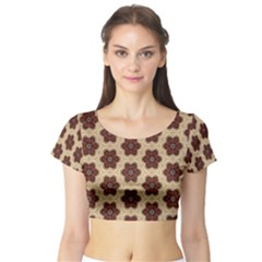 Background Wallpaper Pattern Short Sleeve Crop Top (Tight Fit)