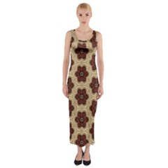 Background Wallpaper Pattern Fitted Maxi Dress
