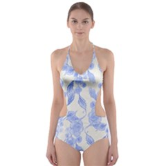 Background Page Template Floral Cut-Out One Piece Swimsuit