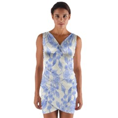 Background Page Template Floral Wrap Front Bodycon Dress
