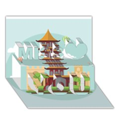 China Landmark Landscape Chinese Miss You 3D Greeting Card (7x5)