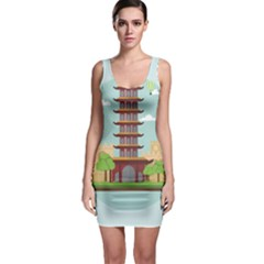 China Landmark Landscape Chinese Sleeveless Bodycon Dress