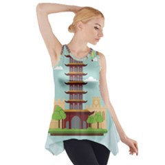 China Landmark Landscape Chinese Side Drop Tank Tunic