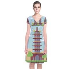 China Landmark Landscape Chinese Short Sleeve Front Wrap Dress