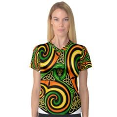 Celtic Celts Circle Color Colors Women s V-Neck Sport Mesh Tee