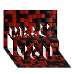 Black Red Tiles Checkerboar Miss You 3D Greeting Card (7x5)