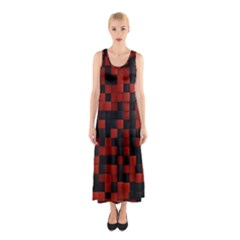 Black Red Tiles Checkerboar Sleeveless Maxi Dress