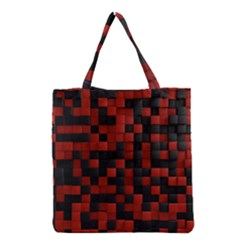 Black Red Tiles Checkerboar Grocery Tote Bag