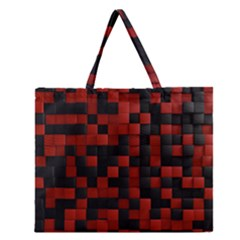 Black Red Tiles Checkerboar Zipper Large Tote Bag
