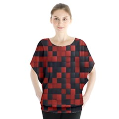Black Red Tiles Checkerboar Blouse