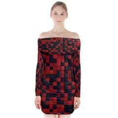 Black Red Tiles Checkerboar Long Sleeve Off Shoulder Dress