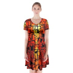 Board Conductors Circuits Short Sleeve V-neck Flare Dress
