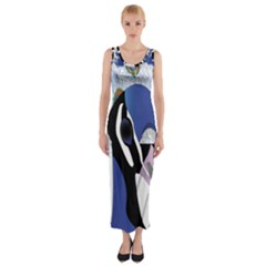 Bird Peacock Feather Beautiful  Fitted Maxi Dress