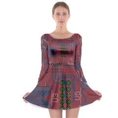 Board Layout Electronics Chip Long Sleeve Skater Dress