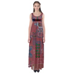 Board Layout Electronics Chip Empire Waist Maxi Dress